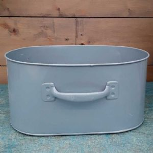 Cache Pot Oval Box Bleu