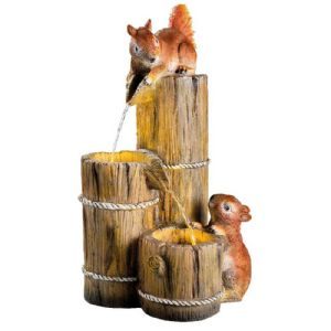 Fontaine polyresine ecureuils